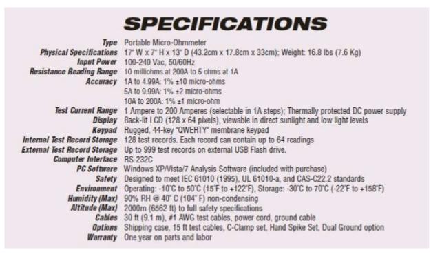 Especificações técnicas detalhadas