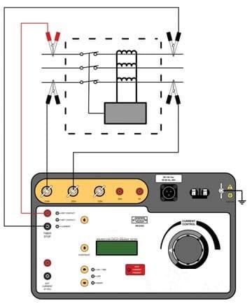 Conexiones fuente de corriente programable para prueba de Interruptores AMCCB250