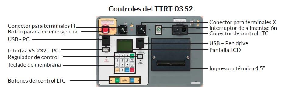 Controles Medidor trifásico de relación de transformación TTRT-03 S2