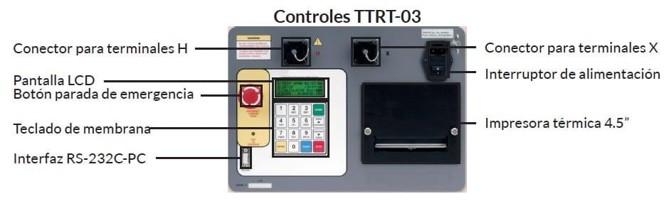 Controles Medidor trifásico de relación de transformación TTRT 03