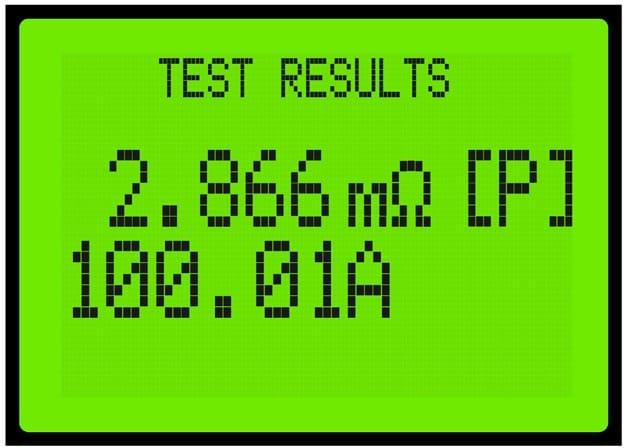 Resultado de una prueba en pantalla