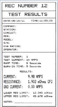 Resultados de prueba Micróhmetro QMOM 600