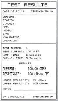 Test results Microhmmeter QMOM 200 S3