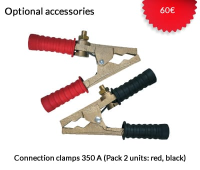 Connection clamps 350 A (Optional) 60€. (Pack 2 units: red, black)