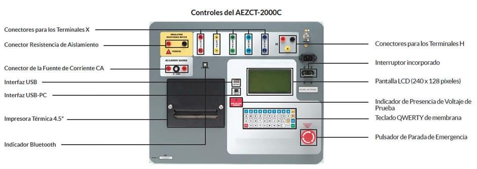 Controles Analizador de Transfomadores de Corriente AEZCT-2000C