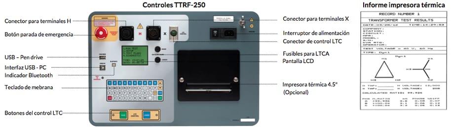 Controles Medidor trifásico de relación de transformación TTRF-250, test térmico