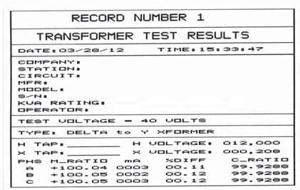 Informe Medidor trifásico de relación de transformación TTRT 03