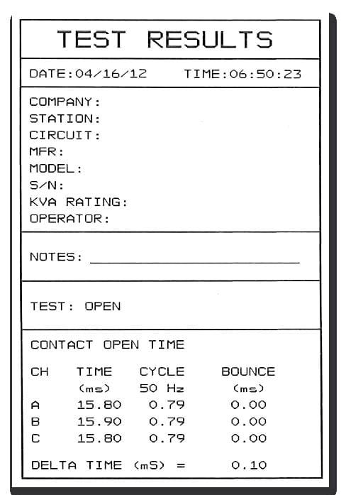 Informes impresora Analizador de interruptores CBT-3500