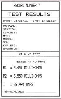 Informe impresora óhmetros para resistencias de bobinado ATRM-20/ATRM-40