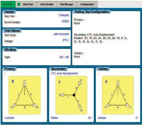 Informes detallados Medidor automático de relación de transformación TTR-3D