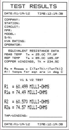 Resultados prueba Medidor de resistencias de bobinados QRM-10P