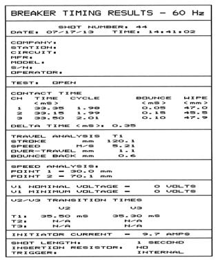 Impresión de los Resultados tabulados en la impresora térmica