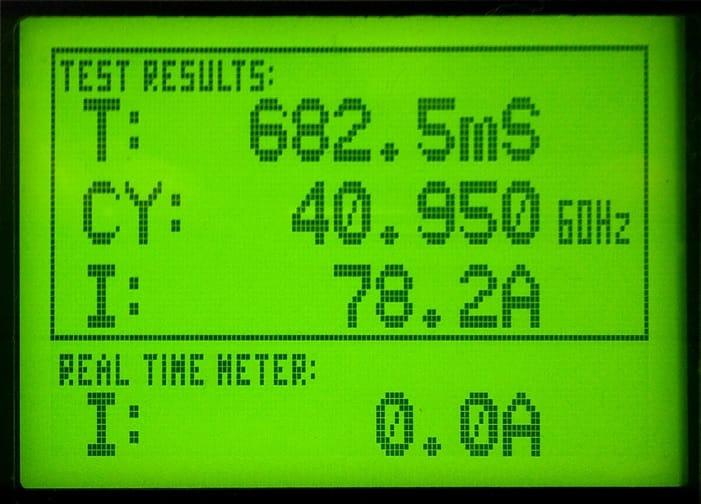 Resultados de test en pantalla