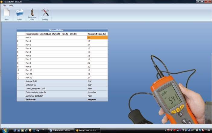 """FOTON"" software for making protocols after measurement according to EN12464"