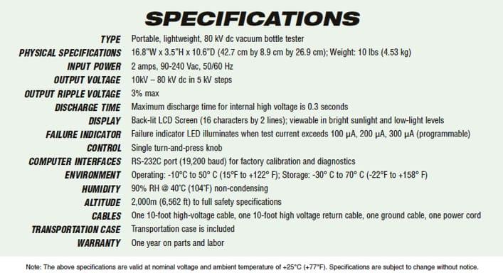Spécifications techniques de l'analyseur flacons vides HVBT-80P