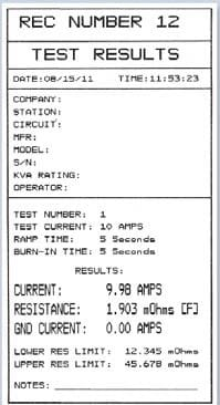 Test result Microhmmeter QMOM 600