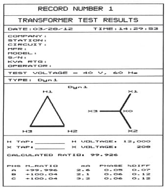 Test result Transformers Testing TTRT 03A S2