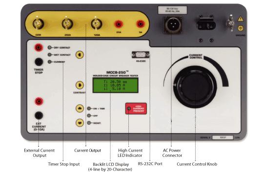 ESPECIFICAÇÕES do equipo de teste de interruptores AMCCB 250